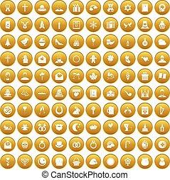 100 religious festival icons set gold