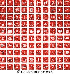 100 renovation icons set grunge red