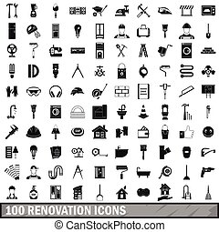100 renovation icons set in simple style for any design...