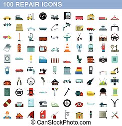 100 repair icons set, flat style