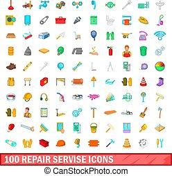 100 repair service icons set, cartoon style