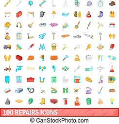 100 repairs icons set, cartoon style