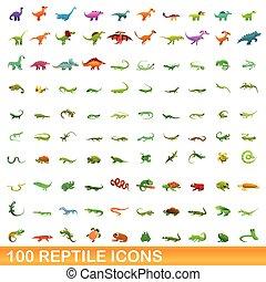 100 reptile icons set, cartoon style