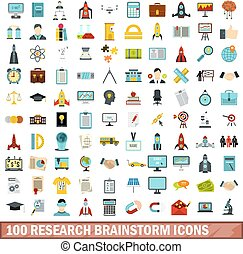 100 research brainstorm icons set, flat style