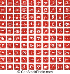100 research icons set grunge red