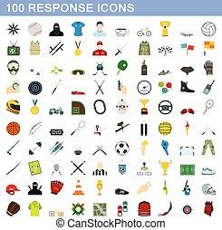 100 response icons set, flat style