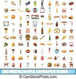 100 restaurant cafe icons set, cartoon style