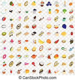 100 restaurant icons set, isometric 3d style