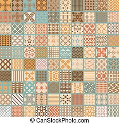 100 Retro set of different vector geometric seamless patterns