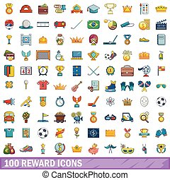 100 reward icons set, cartoon style