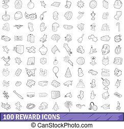 100 reward icons set, outline style