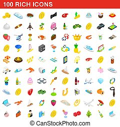 100 rich icons set, isometric 3d style