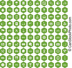 100 ride icons hexagon green - 100 ride icons set in green...