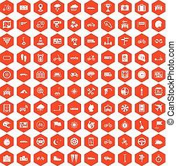 100 ride icons hexagon orange - 100 ride icons set in orange...