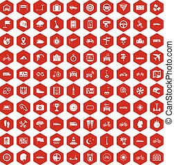 100 ride icons hexagon red - 100 ride icons set in red...
