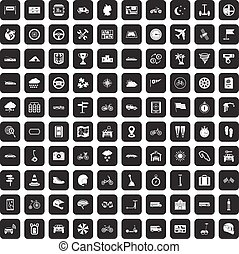 100 ride icons set black - 100 ride icons set in black color...