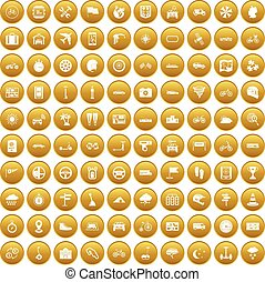 100 ride icons set gold - 100 ride icons set in gold circle...
