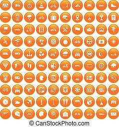 100 ride icons set orange - 100 ride icons set in orange...
