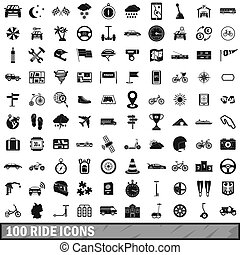 100 ride icons set, simple style - 100 ride icons set in...