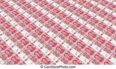 100 RMB bills, Printing Money Animation.