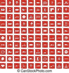 100 road icons set grunge red