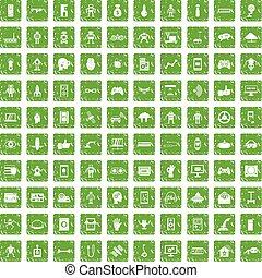 100 robot icons set grunge green