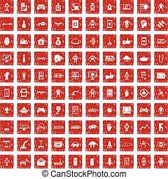 100 robot icons set grunge red