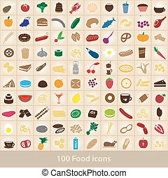 100, rozmanitý, strava i kdy vypít, barva, ikona, dát, eps10
