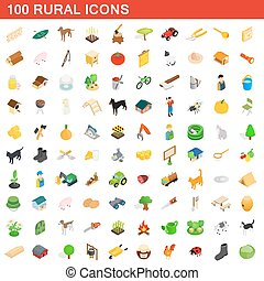 100 rural icons set, isometric 3d style