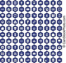 100 sale icons hexagon purple