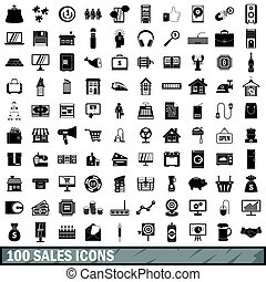 100 sales icons set, simple style