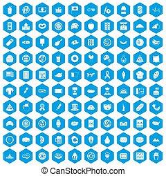 100 sandwich icons set blue