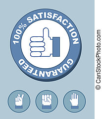 100% satisfaction seal with hands. vector illustration