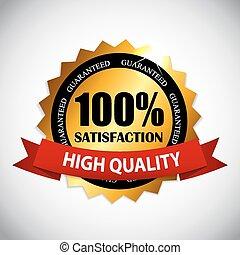 100 % Satisfaction Golden Label Vector Illustration