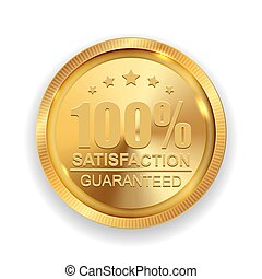 100% Satisfaction Guaranteed Golden Medal Label Icon Seal Sign Isolated on White Background. Vector Illustration