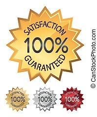 100% satisfaction guaranteed seals set illustration. vector