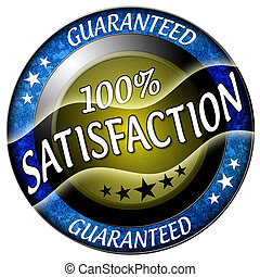 100 satisfaction round red icon isolated