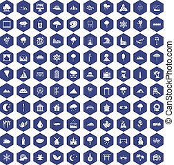 100 scenery icons hexagon purple