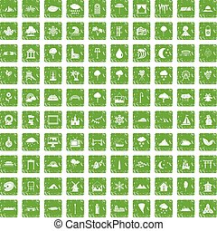 100 scenery icons set grunge green