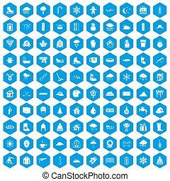 100, schnee, heiligenbilder, satz, blaues