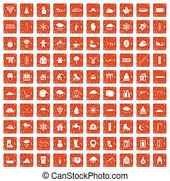 100, schnee, heiligenbilder, satz, grunge, orange