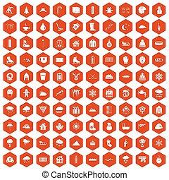 100, schnee, heiligenbilder, sechseck, orange