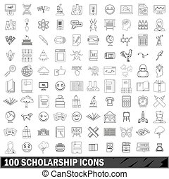 100 scholarship icons set, outline style
