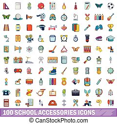100 school accessories icons set, cartoon style