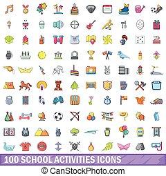 100 school activities icons set, cartoon style