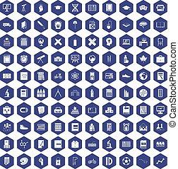 100 school icons hexagon purple