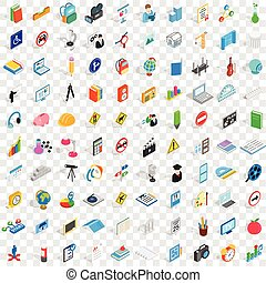 100 school icons set, isometric 3d style