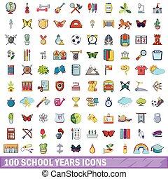 100 school years icons set, cartoon style
