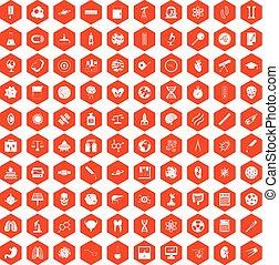 100 science icons hexagon orange