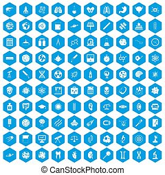 100 science icons set blue